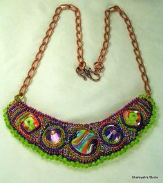 Orange Tango  Bead Embroidered Necklace by 4uidzne on Etsy, $235.00