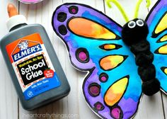 Preschool This watercolor and black glue butterfly craft makes a beautiful spring kids craft, art project for kids, butterfly craft for kids and insect craft. Butterfly Kids, Butterfly Drawing, Butterfly Crafts, Spring Crafts For Kids, Projects For Kids, Art Projects, Crafts To Make, Arts And Crafts, Kid Crafts