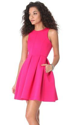 Tibi Neoprene Sleeveless Dress in shocking pink, with full skirt - love!