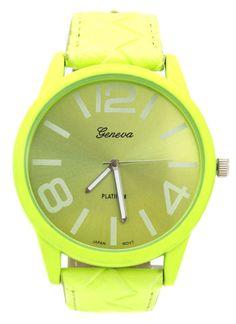 faux leather watch $21.90 in NEONPINK NEONYELLOW - New Stuff | GoJane.com
