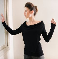 Items similar to Boat neck Black women's top- Long Sleeve top- boat neck shirt- scarf shirt- Hellenic blouse- white shirt - grey shirt on Etsy Winter Blouses, Winter Tops, Body Shape Guide, Boat Neck Tops, Scarf Shirt, Grey Shirt, Black Blouse, Well Dressed, Long Sleeve Tops