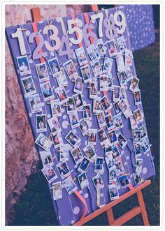 escort card polaroid board