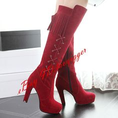 Women'S Vintage Loose Knee High Boots Tassel Fashion Purl Faux Suede Boots Shoes