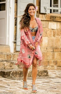 Nicole Scherzinger.. Beaded bikini top, denim shorts, beaded sandals.. River Island pink floral fringed longline kimono - http://www.riverisland.com/women/coats--jackets/kimonos