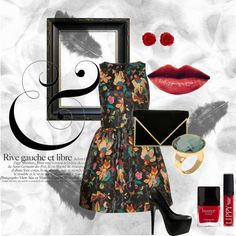 """Fashion. Pattern dress. Evening wear. Classy. Red & teal. Red lips.  """"Jenna"""" by lalie-a on Polyvore"""