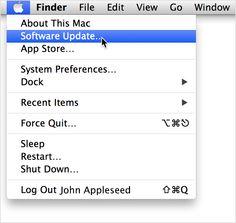 Velg Programvareoppdatering fra Apple-menyen for å oppdatere programvaren