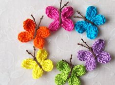 6 Handmade Crochet Butterfly Appliques by LittleMargie on Etsy, $3.50