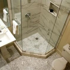 A really nice DIY remodel of a tiny guest bath. Smart and Elegant Small Space: … A really nice DIY remodel of a tiny guest bath. Smart and Elegant Small Space: After from Best Bath Before and Afters 2012 Shower Remodel, Bath Remodel, Basement Remodeling, Bathroom Renovations, Bathroom Ideas, Bathroom Organization, Bathroom Designs, Shower Room Ideas Tiny, Diy Shower