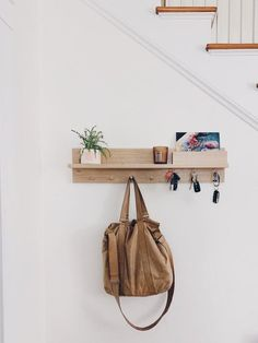 Entryway Organizer Shelf – Coat rack with shelf, Wall mount coat rack, housewarming gift… – Coat Hanger Design Entryway Coat Rack, Entryway Shelf, Coat Rack Shelf, Entryway Wall Decor, Entryway Organization, Wall Mounted Coat Rack, Coat Hanger, Coat Racks, Mail And Key Holder