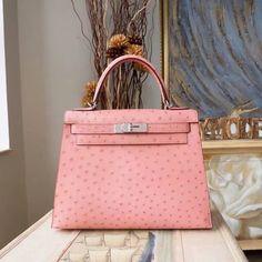28ee3525d6 Hermes style kelly bags pink ostrich handbags