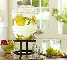 Farmhouse Drink Dispenser #potterybarn - Great for making healthy detox waters for the summer!