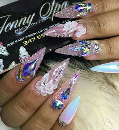 3d Nail Art, Cool Nail Art, Fancy Nails, Trendy Nails, Jewel Nails, Nails Now, Nail Jewels, Clear Nails, Hair Skin Nails