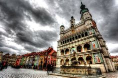Poznan city square and town hall clouds