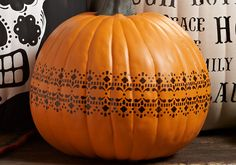 Craft Painting - Stenciled Lace Decorated Pumpkin