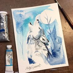 Howling wolf watercolor mini!  Giveaway winners coming soon :) #art #drawing #wolf #howl #sketch #sketching #watercolor #aquarelle