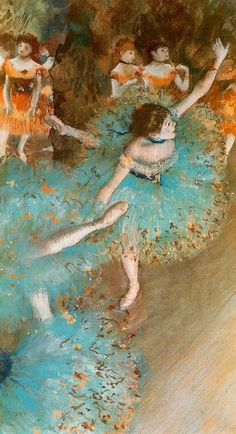 Swaying Dancer | Dancer in Green [1877]    ////edgar D E G A S    Degas' use of a cropped, off-centered pictorial space was influenced by photography and by Japanese prints. He felt that the unfinished, transitory nature of reality could only be conveyed using a fragmented technique.