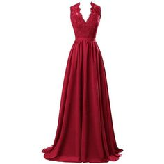 R&J Women's Modest V Neck Open Back Chiffon Long Evening Gown with... ($48) ❤ liked on Polyvore featuring dresses, gowns, long chiffon dress, lace dress, red gown, long lace gown and long evening gowns
