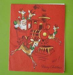 Vtg Christmas Card-Santa Drives Railroad Train-Deer Run Alongside