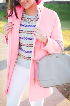 cocoon coat, pastel fair isle sweater, tory burch slouchy satchel // grace wainwright from a southern drawl Plaid Outfits, Preppy Outfits, Fall Outfits, Cute Outfits, Spring Summer Fashion, Autumn Winter Fashion, Fall Fashion, Fall Winter, Spring 2016