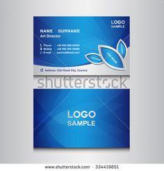 blue Business card design template vector illustration
