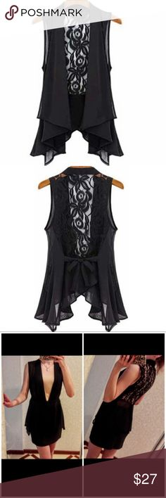 Ruffle & Lace Tie Black Dress Blouse Vest Top NWT Beautiful NWT black floral, ruffle dress vest with gorgeous lace detailed back decor that can tie in a bow in either the back or in the front! True to size, with some extra room as style fits loosely until tied.  See measurements in comments below.  Poly chiffon blend. Perfect for work, fun, or the holidays! We ship fast, and include a FREE NWT gift with every order! . We offer bundle discounts, so be sure to see our extraordinary fashion…