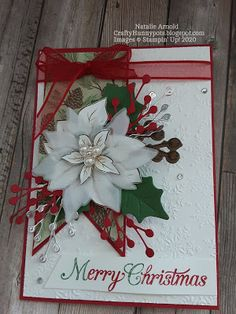 Christmas Poinsettia, Stampin Up Christmas, Christmas And New Year, Stampin Up Cards, Christmas Cards, Fall Winter, Holiday, Noel, Poinsettia