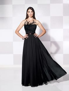 Cameron Blake - 115609 - Sleeveless chiffon A-line gown, illusion jewel neckline with hand-beaded lace appliqués over ruched bodice, covered buttons down illusion back, ribbon natural waistband, gathered full A-line skirt, suitable for formal events. Matching shawl included. Jeweled Occasions earring style and bracelet style Jane sold separately.Sizes: 4 – 20Colors: Black, Ivory, Raspberry
