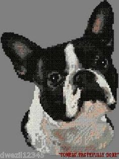BOSTON TERRIER DOG - CROSS STITCHED - 2 EMBROIDERED HAND TOWELS by Susan