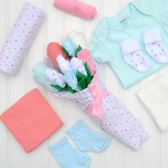 Items similar to Unique Baby Girl Gift, Newborn Girl Gift, Baby Girl Clothing Bouquet, Baby Shower Gift Girl, Flowers for New Mom on Etsy Unique Baby Girl Gifts, Gifts For Newborn Girl, Gifts For Girls, Baby Gifts, New Parents, New Moms, Baby Bouquet, First Mothers Day Gifts, Hospital Gifts