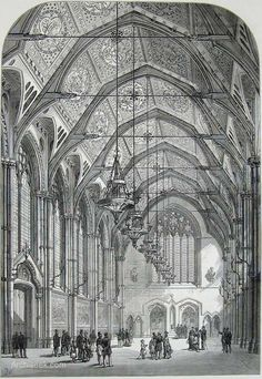 Interior Details. 1876 – Manchester Town Hall, Lancashire. It was fitted masterfully onto an awkward triangular space – although not unanimously liked as the best looking design, it proved the most practical of the 136 other designs entered. Manchester had achieved city status in 1853, and was keen to show off its civic dignity. Architect: Alfred Waterhouse