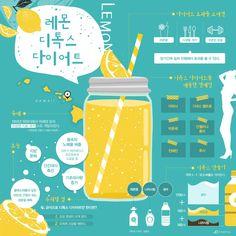 """""""건강도 지키고 살도 빼자"""" 레몬 디톡스 다이어트 [인포그래픽] #detox / #Infographic ⓒ 비주얼다이브 무단 복사·전재·재배포 금지"""