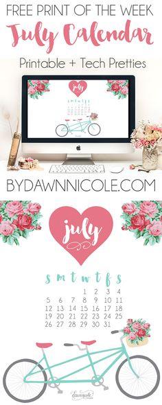Free Print of the Week: July 2015 Printable Calendar + Desktop Wallpaper | bydawnnicole.com