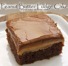 Peanut Butter Fudge Cake The peanut butter filling couldn't be simpler. It's peanut butter. Spread it on the cake while it's still warm, and the peanut butter will make a lovely, tasty layer between the Peanut Butter Fudge Cake, Peanut Butter Recipes, Peanut Cake, Chocolate Peanut Butter Frosting, 13 Desserts, Delicious Desserts, Yummy Food, Tasty, Chocolate Peanut Butter