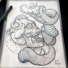 Another one available to be tattooed at the I drew this one while listening to the chants of catalunyan independentists gathering outside for a demo. Skull Tattoos, Animal Tattoos, Tattoo Sketches, Tattoo Drawings, Sharpie Drawings, Skull Sketch, Nordic Tattoo, Japan Tattoo, Snake Tattoo