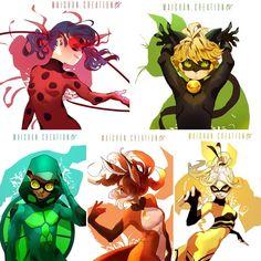 Ladybug, Chat Noir, Carapace, Rena Rouge e Queen B Meraculous Ladybug, Ladybug Comics, Lady Bug, Anime Miraculous Ladybug, Miraculous Ladybug Queen Bee, Ladybug Und Cat Noir, Catty Noir, Carapace, Miraculous Characters