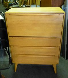 """Desk Chest: #M389W, circa 1952-54.  Designed to look like a chest of drawers, the top """"drawer"""" actually opens into a desk.  Great in livingroom, office, or even bedroom.  Measures 30"""" x 13"""" x 42"""" high.  Asking:  $285"""