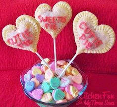 We came up with these funCherry Heart Pie Pops for Valentine's Day. It's very simple to do! You will need Pillsbury pie crust, cherry pie filling, lollipop sticks, 1 egg white, pink sugar, and, red or pink decorating frosting. We first rolled out our pie crust and cut out hearts with a heart cookie cutter…...Read More »