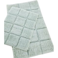Complete your master bath or powder room with this essential cotton mat set, showcasing a textured block design and aqua hue.Product:...