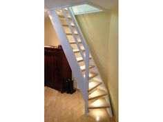 Loft ladder with small turn at the bottom to save space boys room Space Saving Staircase, Small Staircase, Tiny House Stairs, Attic Stairs, Spiral Staircase, Staircase Design, Garage Stairs, Staircases, Small Attics