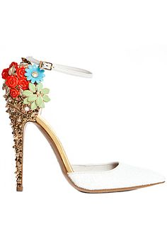 Spike and Crystal Embellished White Pointy Toe Floral Heels from the Dsquared2 2012 Fall-Winter Collection...so dreamy