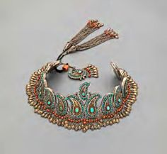 Uzbekistan ~ Khorezm | Forehead ornament; silver, partly gilt silver, carnelian, turquoise and coral || Ghysels' Collection