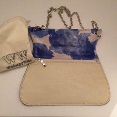 Cross Body Bag, designer leather, blue and white cross body,