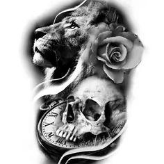 Leo Tattoo Designs, Skull Tattoo Design, Sugar Skull Tattoos, Dog Tattoos, Estilo Mehndi, Lilac Tattoo, Tattoo Filler, Watch Tattoos, Sleeve Tattoos For Women