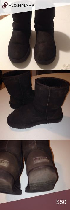 UGG ANKLETY Chocolate brown ankle shearling boots. Just cleaned & sprayed. In good comfy. Super warm ' cute UGG Shoes Ankle Boots & Booties