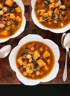 (Saute in broth; use 3 cups cooked grains to serve 3) Sweet Potato, Kale and Chickpea Soup - This hearty and delicious soup is perfect for warming up. It's an easy, nutritious, one-pot meal that makes great leftovers, too!