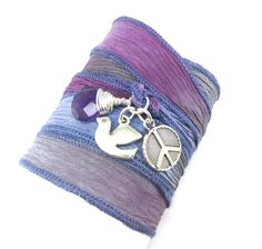 Love this ribbon! Hand Dyed Slk Ribbon Wrap Bracelet with Dove, Peace Sign, and Amethyst
