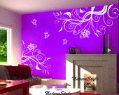 Beautiful Flower with Butterflies-Vinyl Wall Decal Sticker Nursery Room decal baby decal flower decal butterfly decal white flower. $59.00, via Etsy.