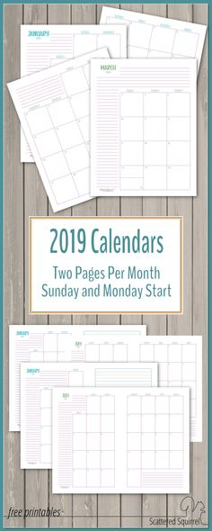 Get a jump start on 2019 with these dated monthly calendars. Two pages for each month gives plenty of room for planning. They come in full or half-size with your choice of a Sunday or Monday start day.