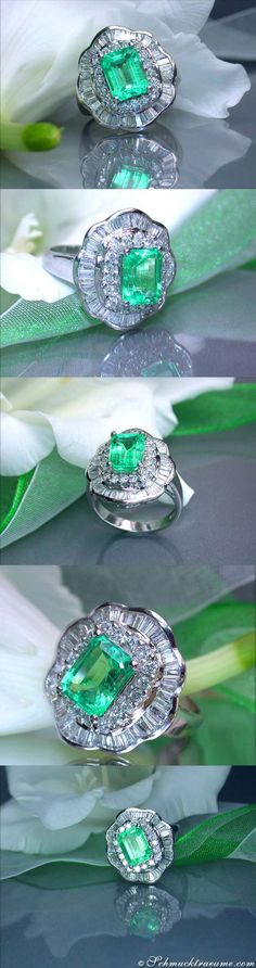 Dreamlike Emerald Diamond Ring, 3,79 cts. WG18K - Visit: schmucktraeume.com - Like: https://www.facebook.com/pages/Noble-Juwelen/150871984924926?ref=hl - Mail: info@schmucktraeume.com