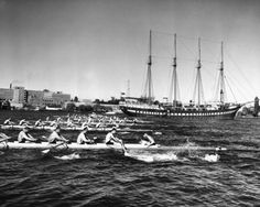 University of Washington Crew Team Rowing Near Yacht Fantome, Seattle, Photographer Josef Scaylea. My alma mater. Row Row Your Boat, The Row, Rowing Crew, Rowing Team, Rowing Shell, Boys In The Boat, Uw Huskies, University Of Washington, Washington State